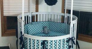 Modern DEPOSIT Round Crib Bedding Navy and Gray Made To Order round baby cribs