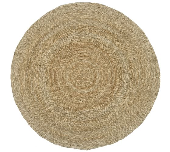 Simple Border Round Jute Rug - Sand | Pottery Barn round jute rug