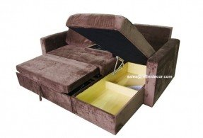 Cute Chocolate Sectional Sofa Bed with Storage Chaise Couch Sleeper Futon sectional sofa bed with storage