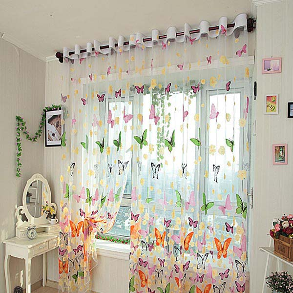 Simple Butterfly Printed Sheer Window Curtains Tulle Door Window Screen sheer butterfly curtains