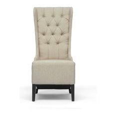 Simple Baxton Studio - Vincent Linen Accent Chair, Beige - Armchairs And Accent modern wingback chair