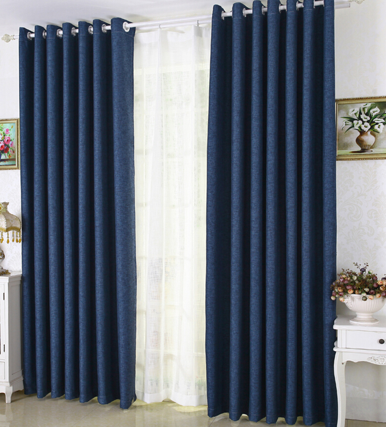 Simple Eco-friendly Navy Blue Linen Thick Blackout Insulated Curtains navy blue curtains