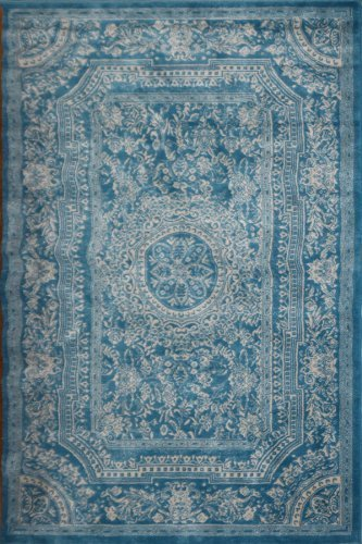Simple New City Light Blue Traditional French Floral Wool Persian Area Rugs  5u00272 Blue Oriental Rugs