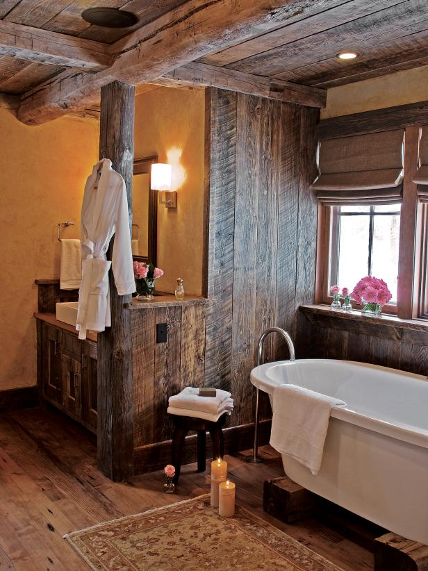 Simple Rustic Bathroom With Wood Ceiling and Walls Plus Soaking Tub rustic country bathroom decor