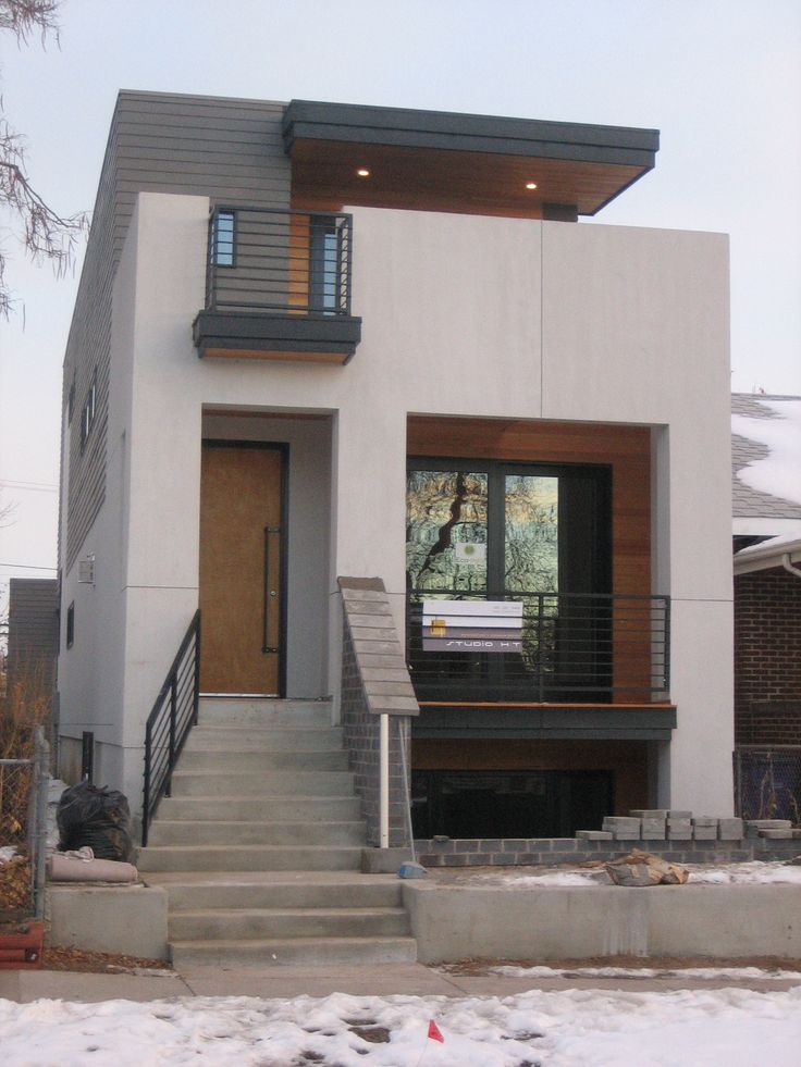 Elegant Small Modern House Design with White Walol using Large Window and Wooden simple small home design