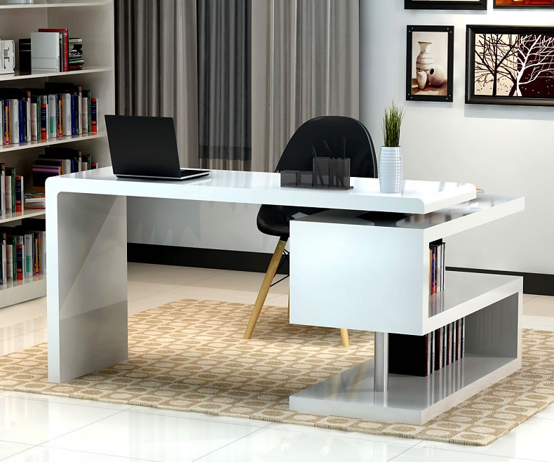 Cool Stunning modern home office desks with unique white glossy desk plus open small office desks for home