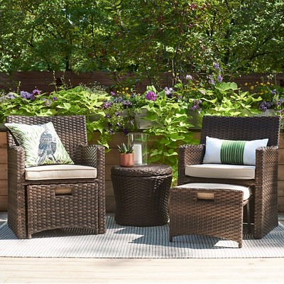 Unique Halsted 5-Piece Wicker Small Space Patio Furniture Set - Threshold™ small outdoor table