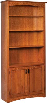 Compact Mission Wood Bookcase with Doors solid wood bookcases with doors