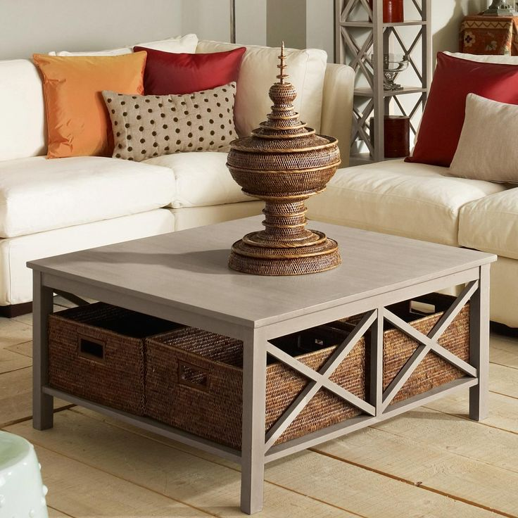 Pictures of Saltire Large Square Coffee Table with Storage square living room table