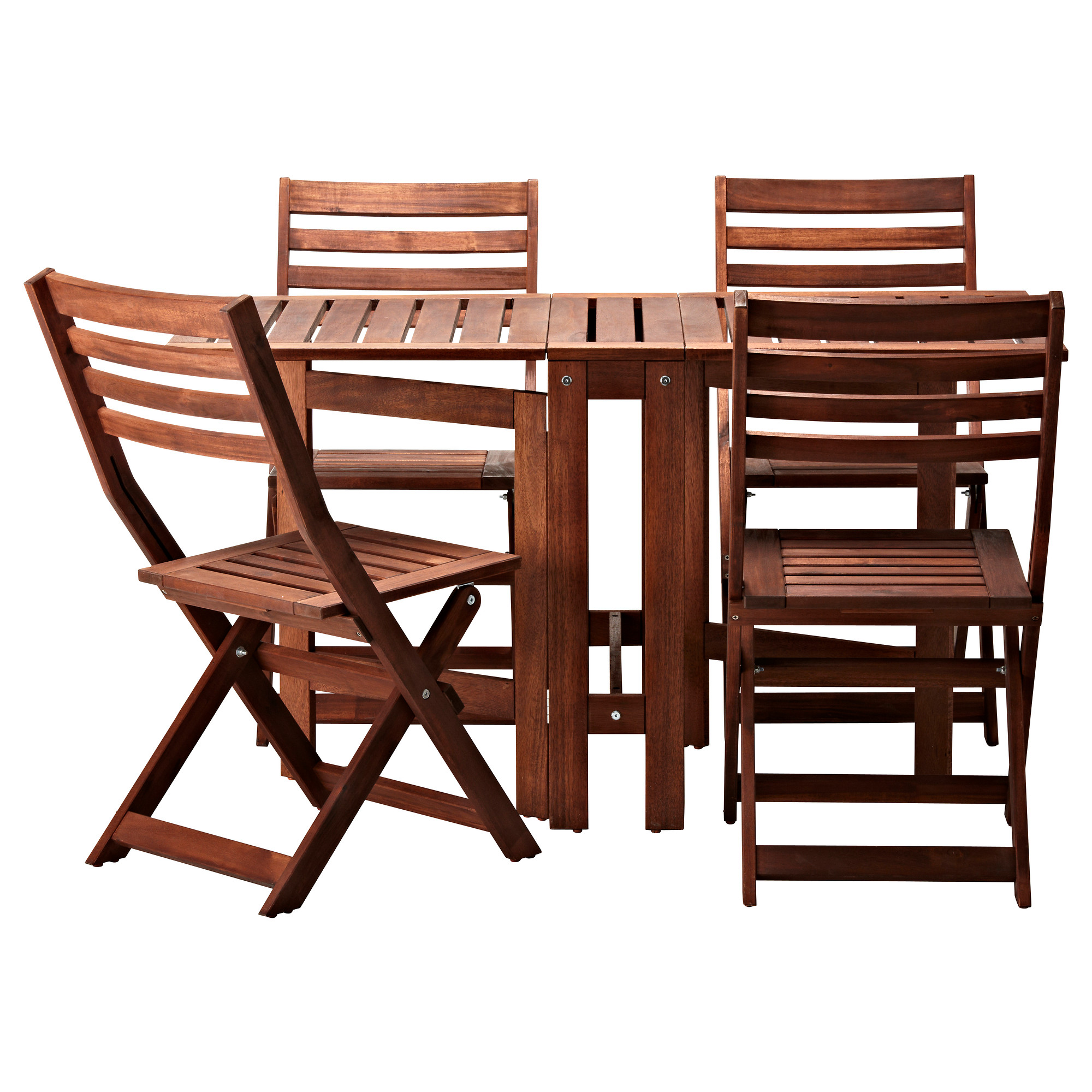 Stunning ÄPPLARÖ table and 4 folding chairs, outdoor, brown brown stained folding wooden garden furniture sets