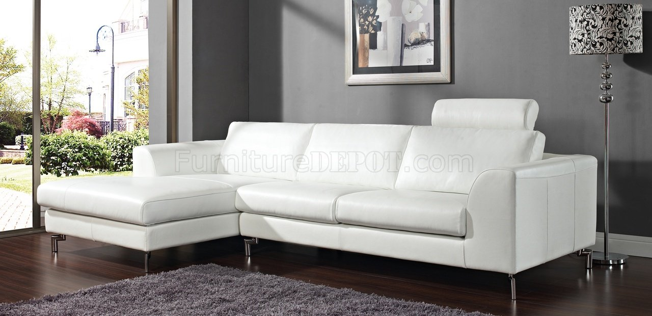 Stunning Angela Sectional Sofa in White Leather by Whiteline white leather sectional sofa