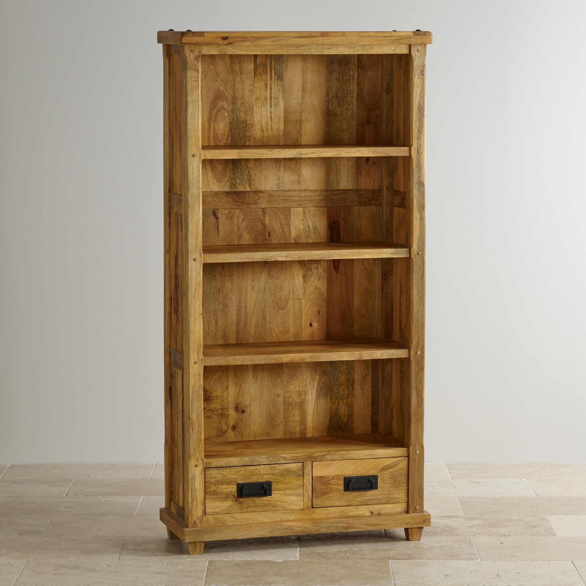 Stunning Baku Light Natural Solid Mango 2 Drawer Tall Bookcase tall bookcase with drawers