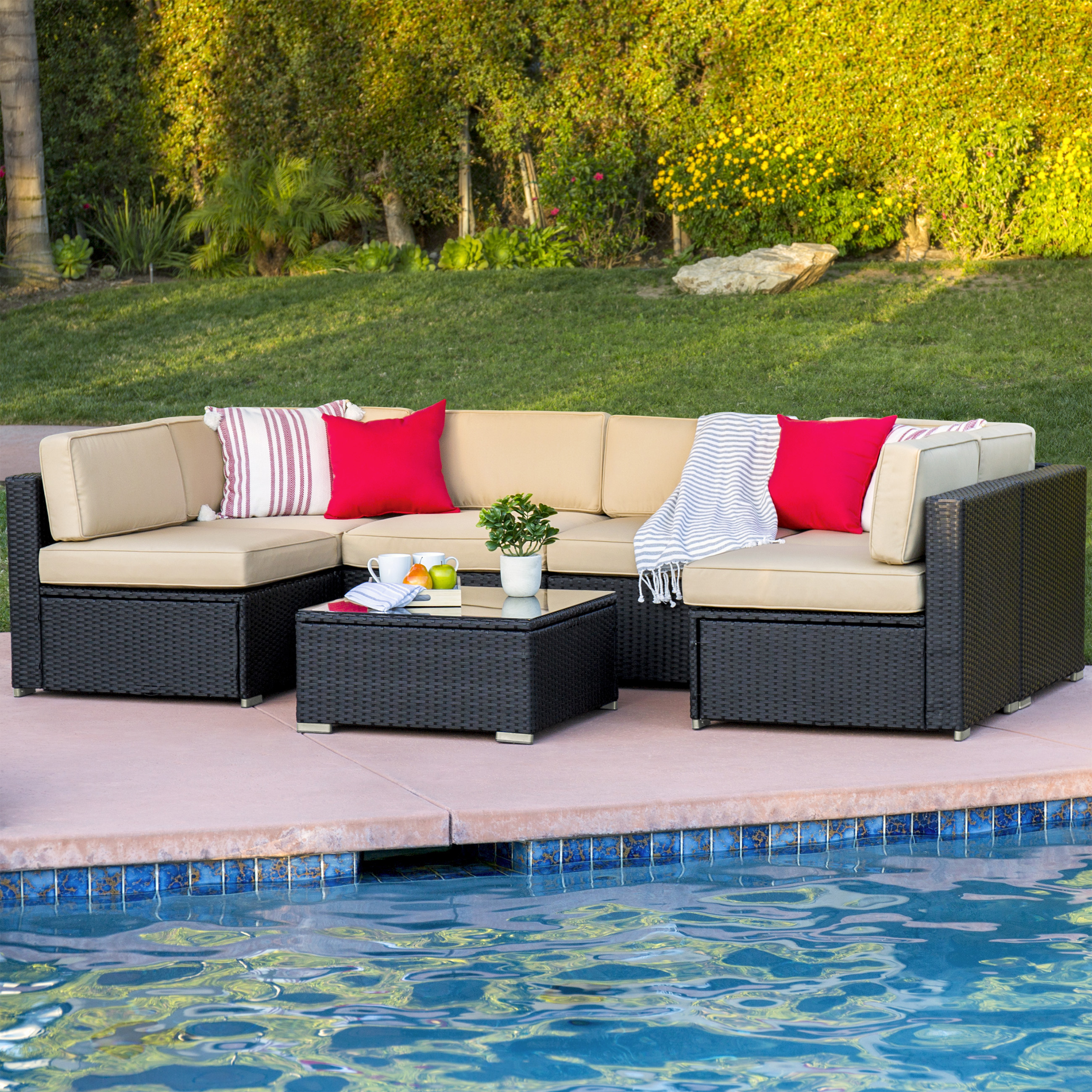 Stunning Best Choice Products 7pc Outdoor Patio Garden Wicker Furniture Rattan Sofa  Set outdoor wicker furniture