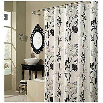 Stunning Black and White Flower Fabric Shower Curtain black and white floral shower curtain