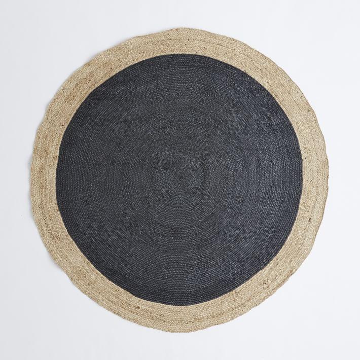 Stunning Bordered Round Jute Rug - Slate   west elm round jute rug