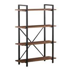 Stunning CO Fine Furniture - Industrial-Style Bookcase With 4 Wood Shelves and Metal metal and wood bookcase