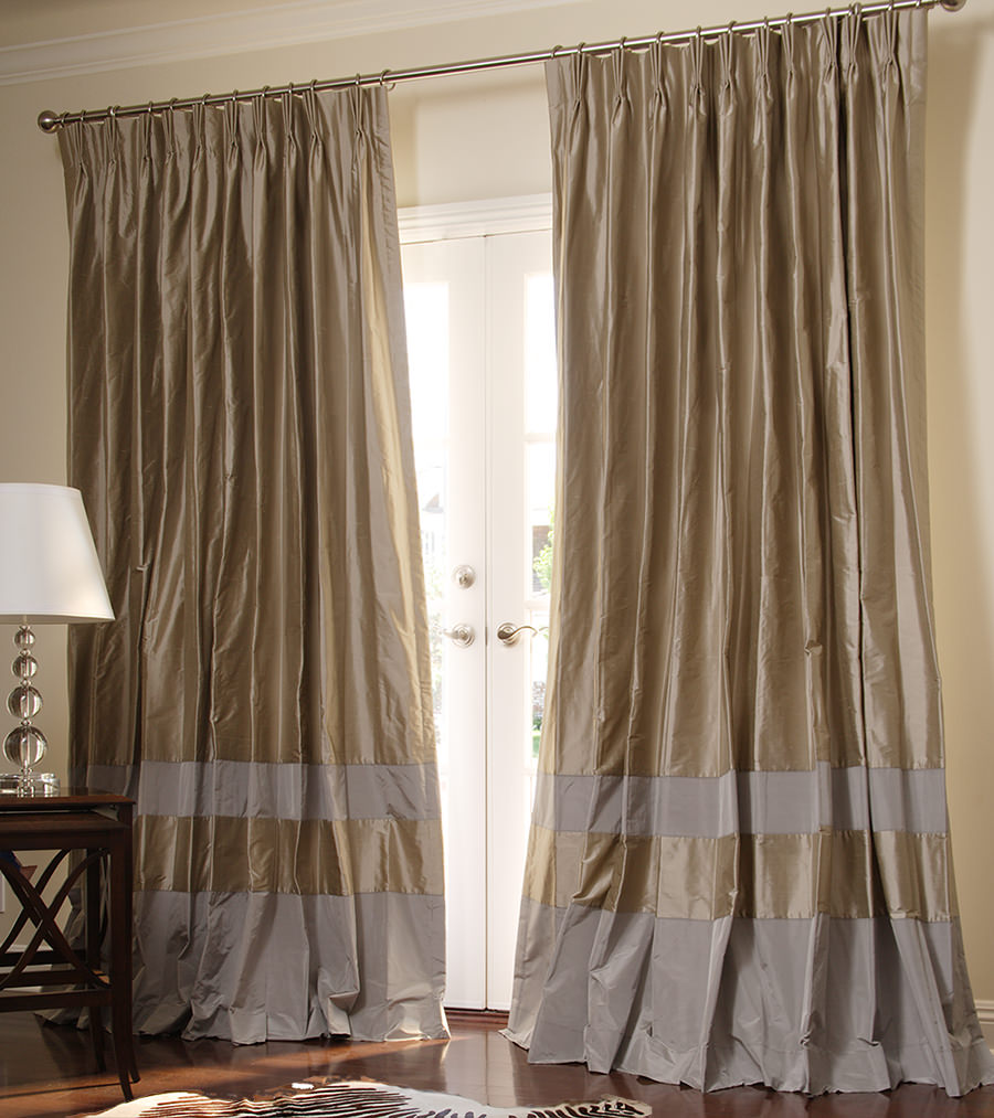 Stunning ... Double Bordered Contempory Custom Drapes in Pebble + Pewter custom drapery panels