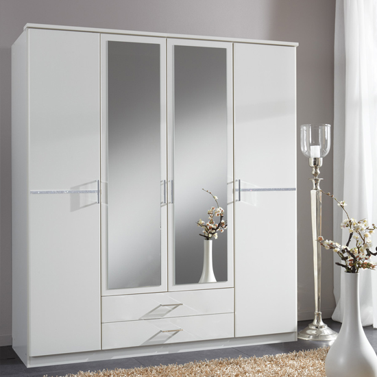 Stunning Florence Mirrored Wardrobe In White With Diamanté And 4 Doors - 19493 white mirrored wardrobe