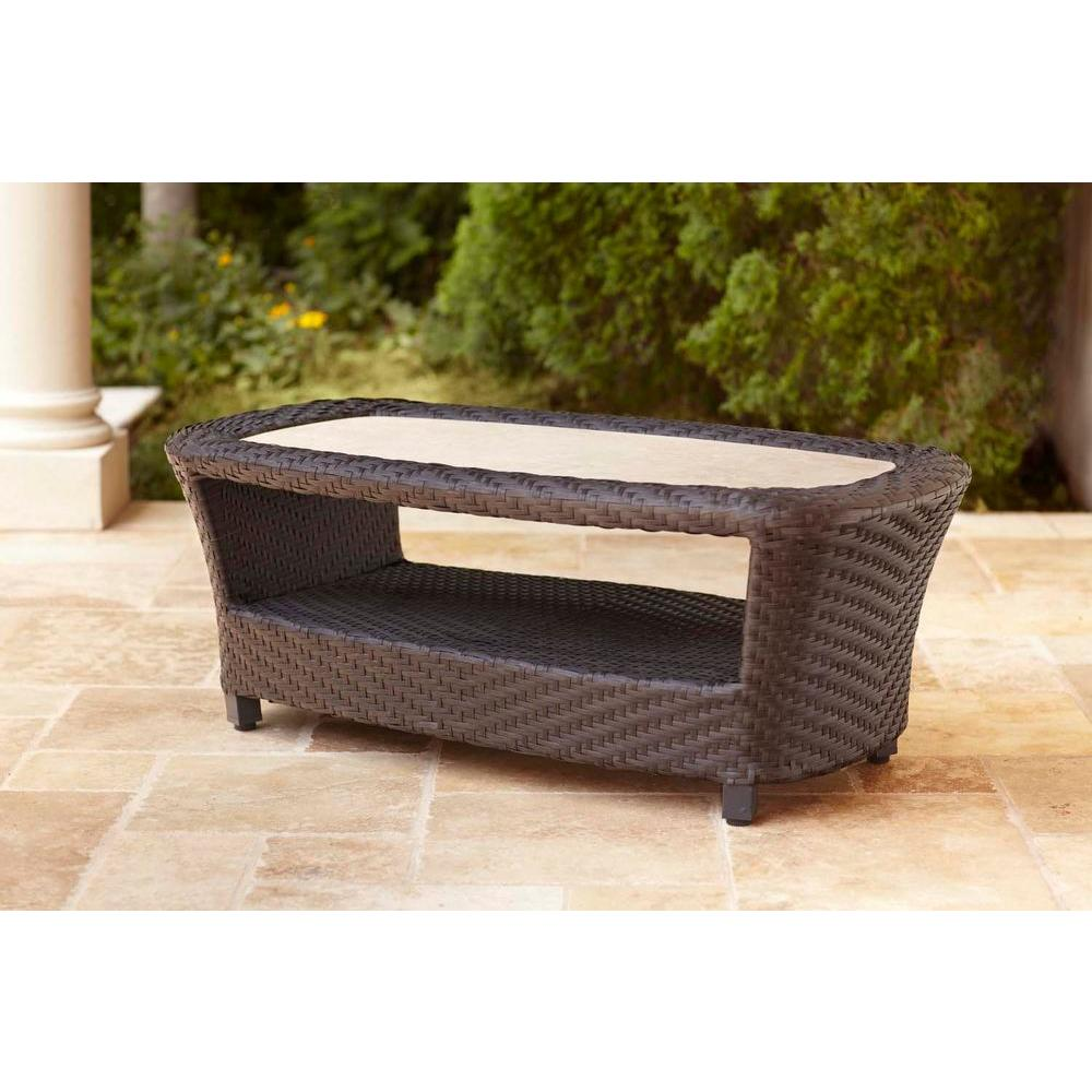 Stunning Highland Patio Coffee Table -- STOCK wicker coffee table outdoor