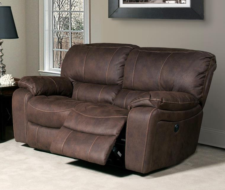 Stunning Jupiter Dual Reclining Loveseat in Dark Kahlua Synthetic Leather by Parker dual reclining loveseat