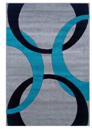Stunning Linon Corfu Cu04 Grey / Turquoise Area Rug turquoise blue area rugs