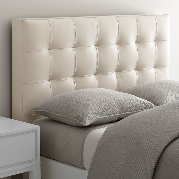 Stunning Low Leather Grid-Tufted Headboard | west elm leather upholstered headboard