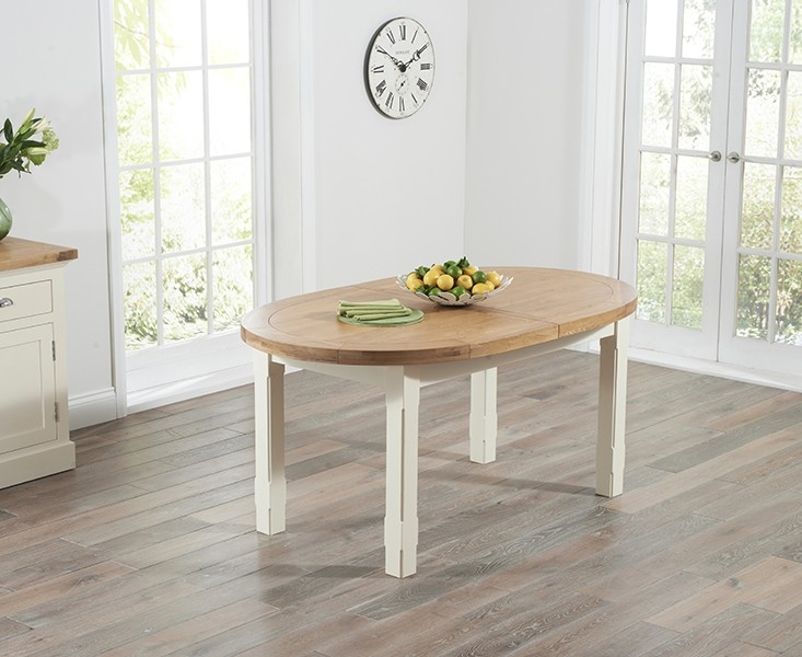 Stunning Mark Harris Cheyenne Oak And Cream Oval Extending Dining Set With  6 Oval Extending Dining