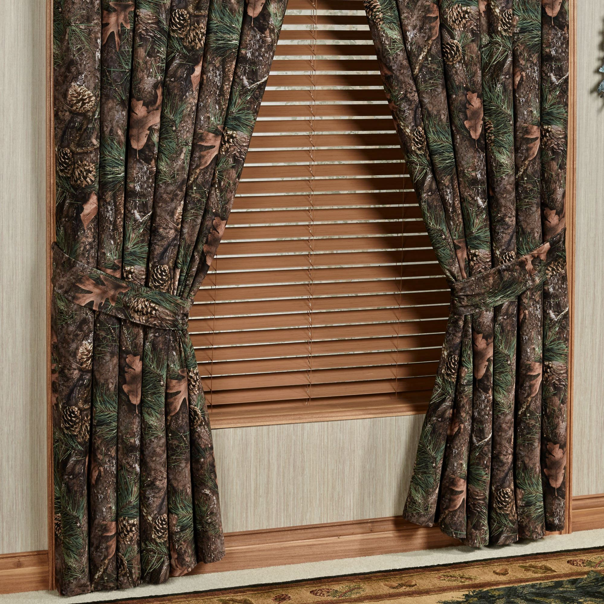Stunning Mixed Pine Wide Curtain Pair Multi Warm 100 x 84 camo blackout curtains