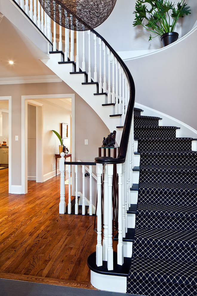 Stunning monochrome wool carpet runner is a great addition to a black and white black and white stair runner