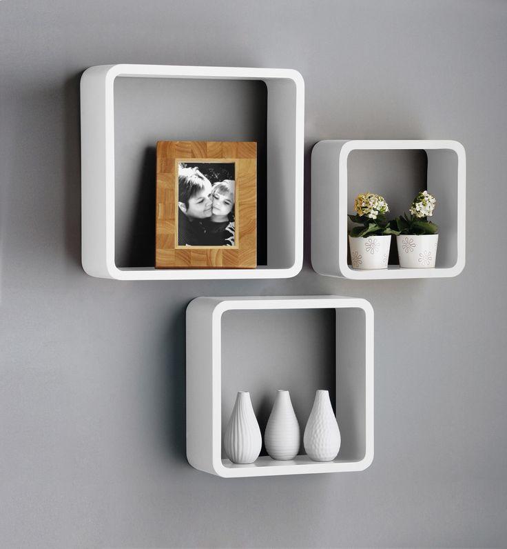 Stunning New Set Of 3 White u0026 Black Square Floating Cube Wall Storage wall storage shelves
