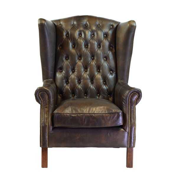 Stunning Old World Antique Leather Wingback Chair leather wing back chair