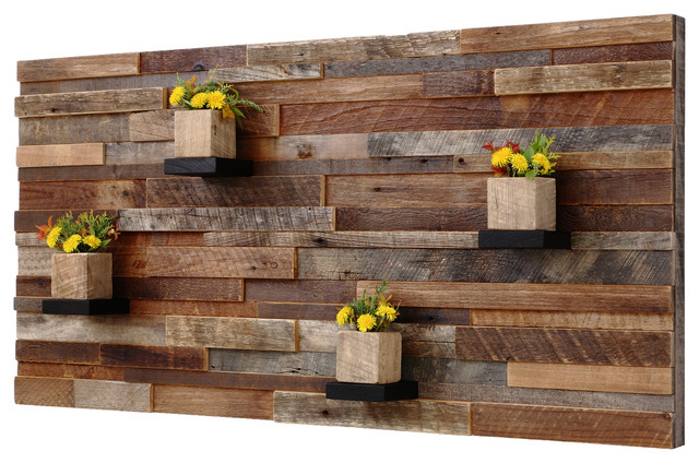 Stunning Reclaimed Barn Wood Wall Art With Shelves, 4u0027x2u0027 rustic-wall- rustic wood wall decor