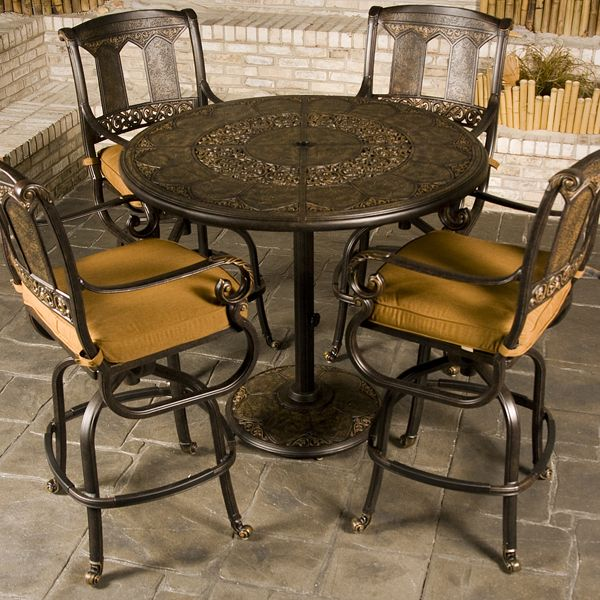Stunning St. Moritz - Bar Height bar height patio set with swivel chairs