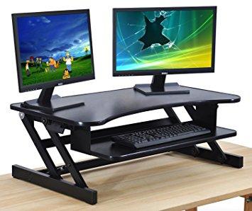Stunning Standing Desk - Adjustable Height Desk Riser - Sturdy 32in. Wide Sit sit to stand desk riser