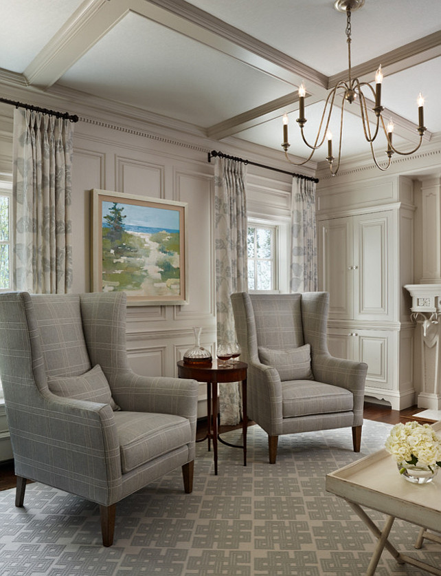 Stunning This den feels elegant ... elegant coastal living rooms