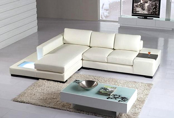 Stunning View in gallery A white modern leather sectional sofa modern sectional sofas