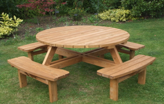 Stunning wooden garden furniture with medium size round table and four half round round wooden garden table and chairs