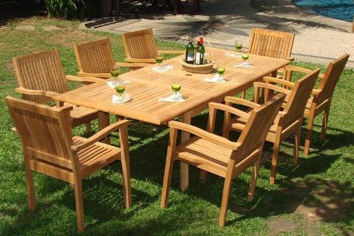 Stylish 9-piece-teak-dining-set teak wood outdoor furniture