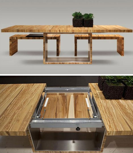 Stylish all-wooden-colorful-dining-table space saving extending dining table