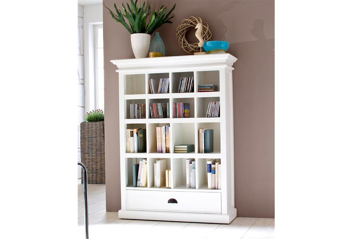 Stylish Country White Solid Wood Bookcase with Two Drawers white wooden bookshelf