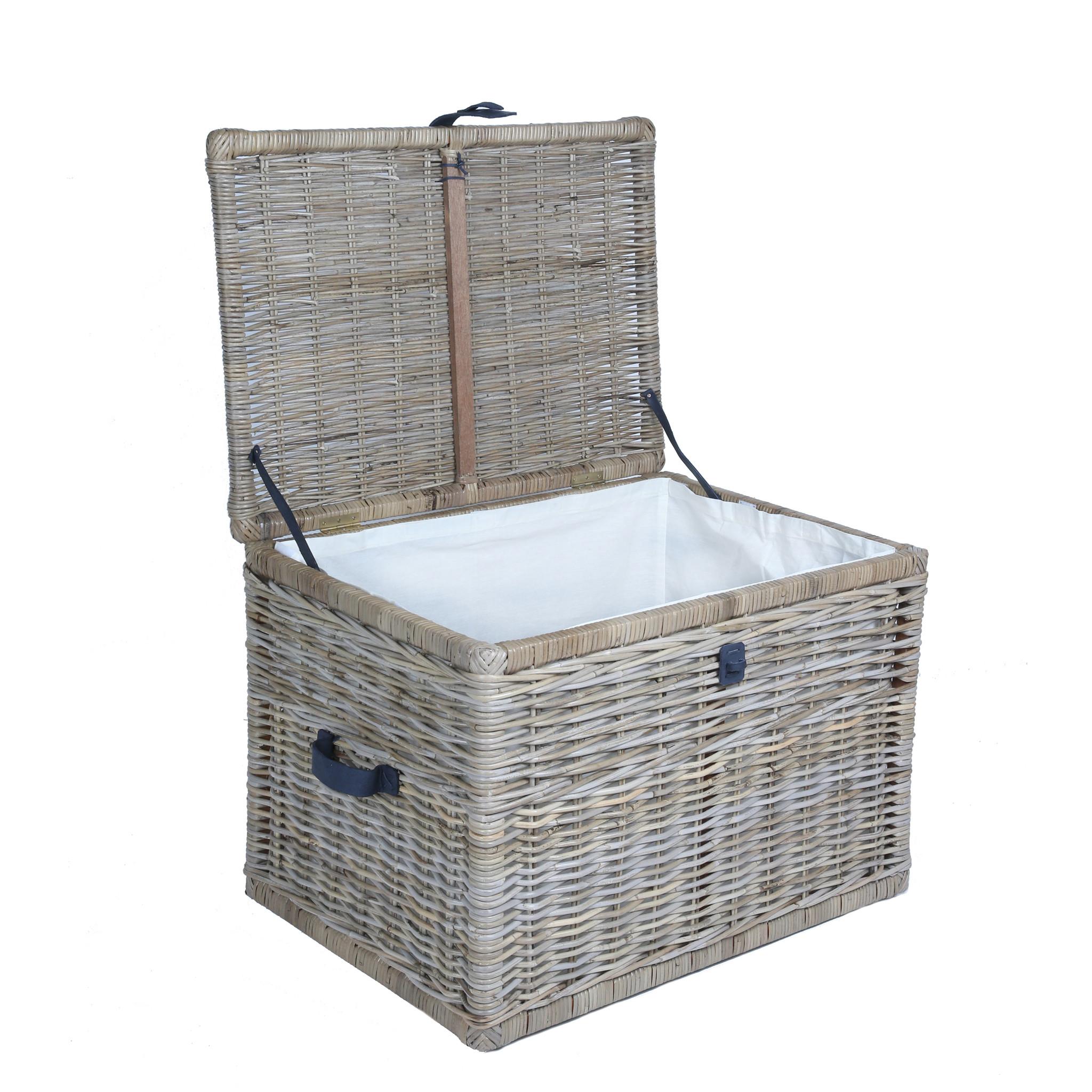 Stylish ... Deep Kubu Wicker Storage Trunk with lid open, large in Serene large wicker storage baskets