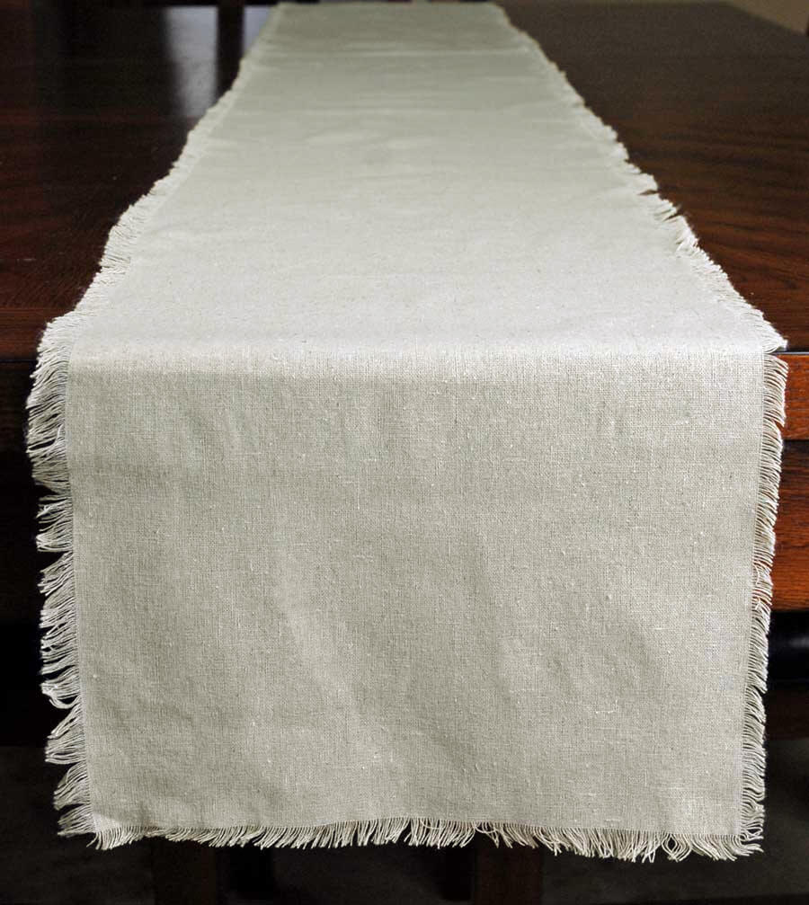 Stylish Fringed Edge Linen Table Runner 12.5in x 120in linen table runners