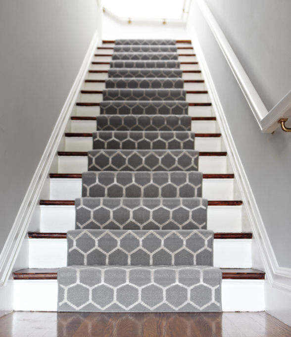 Stylish Geometric runners are an easy way to spice up stairs and long hallways. geometric stair runner