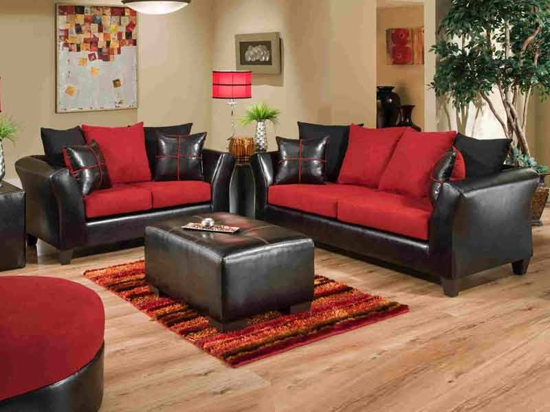 Stylish Jefferson Black/Red Sofa u0026 Love Set red sofa set