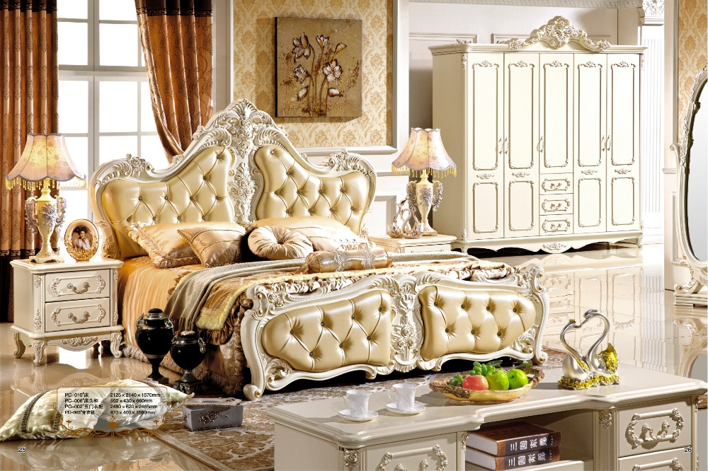 Stylish Luxury White French Style Hand Carved Wood Leather Bed Furniture 0407-008 luxury bedroom furniture sets