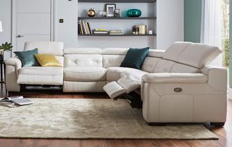 Stylish multibuysaving Torino Option C 2 Corner 2 Electric Recliner Sofa New Club leather corner recliner sofa
