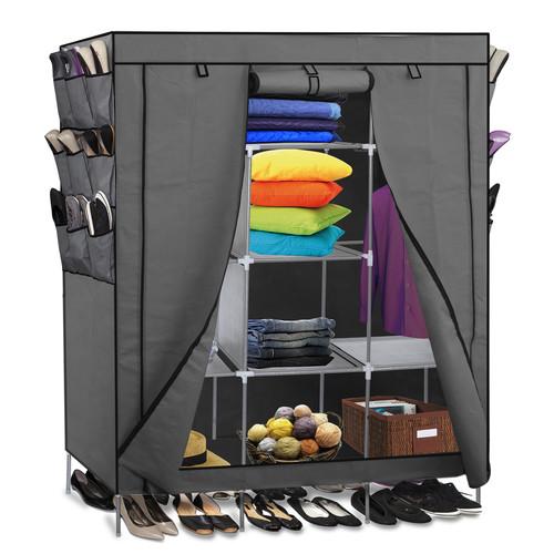 Stylish OxGord Portable Storage Organizer Wardrobe Closet u0026 Shoe Rack, Customizable  Shelves, Stainless metal wardrobe closet
