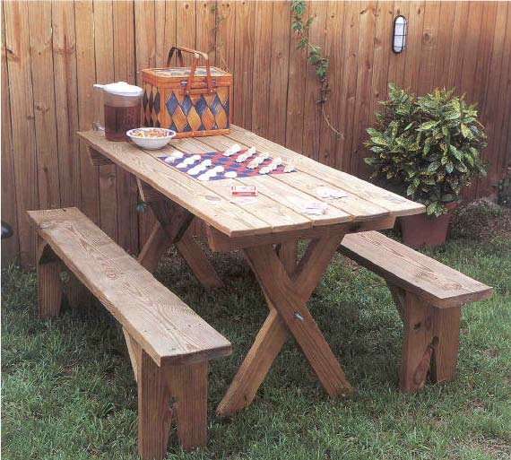 Stylish Picnic Table and Benches, Outdoor Wood Plans, IMMEDIATE DOWNLOAD outdoor wooden tables and benches