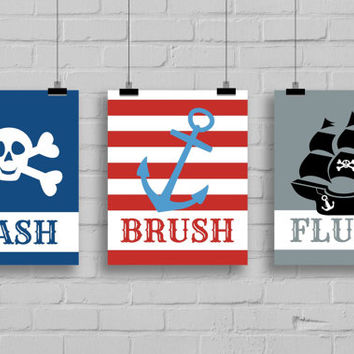 Stylish Pirate Bathroom Art Prints - Set of 3 Prints, Kids Bathroom Decor, anchor bathroom decor
