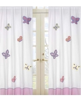 Stylish Sweet Jojo Designs Pink, Purple, Yellow, Sage Green and White Butterfly  Collection white butterfly curtains